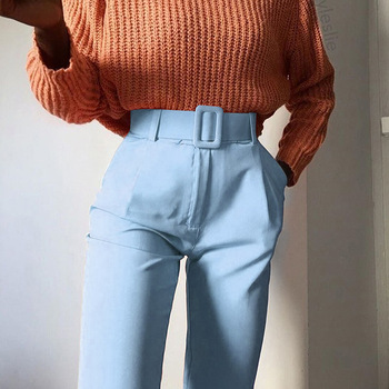 2019 Fashion High Waist Slim Fit Sweat Pencil Pants Women Belt Streetwear Casual Capris Workout Femme Black Blue Ninth Trousers