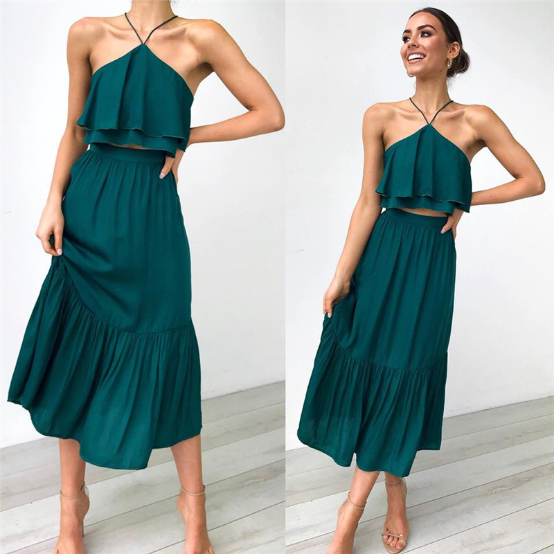 2020 Summer Two-piece Sets Sexy Halter Sleeveless Crop Top And Loose Long Skirt Casual Laies Elegant A-line Boho Suits Ruffles