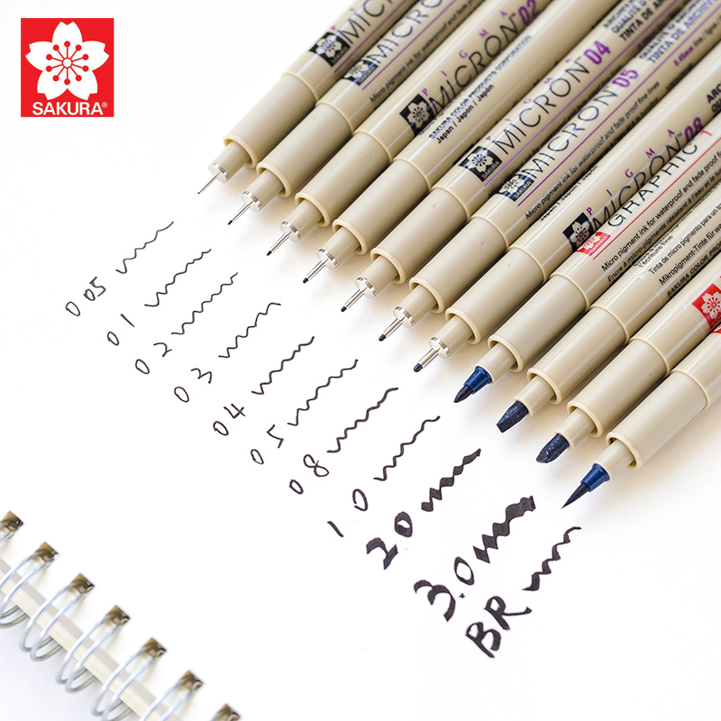 Sakura Pigma Micron 005  Fineliner Pen Black Ink Art 01 02 03 04 05 08 Brush Marker Pigment Ink For Artist Drawing Liner Pens