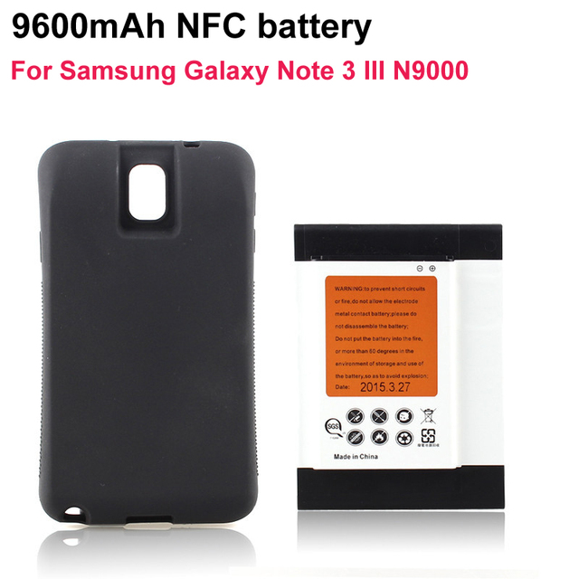 High Capacity 9600mAh Extended Battery + Black Case Cover For Samsung Galaxy Note 3 III N9000 Phone NFC Batteria Guarantee 100%