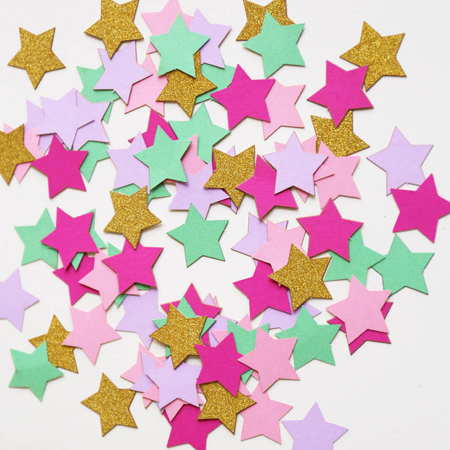 Pastel Stars ConfettiUnicorn Birthday Table Decor Rainbow Scatter Baby Shower Party