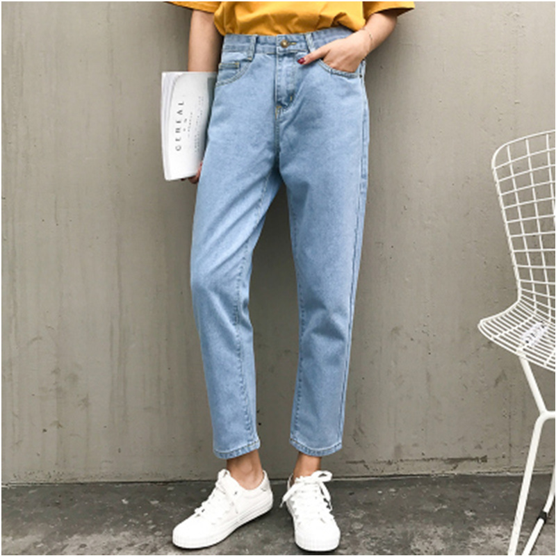 2017 Summer New Fashion Denim Solid Harajuku Vintage Casual Wide Loose Women High Waist Jeans Stretch Ankle-Length Pants new summer vintage women ripped hole jeans high waist floral embroidery loose fashion ankle length women denim jeans harem pants