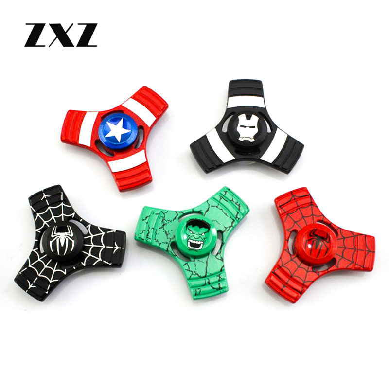 Relief Anxiety Stress The Avengers Hulk Hand Spinner Metal Spider Shield Fidget Spinner