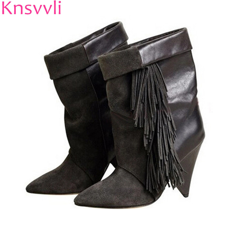 Knsvvli kid suede fringe women strange style high heel pleated short boots pointed toe autumm slip on fashion runway shoes women preppy style women s high heel boots with suede and slip on design