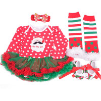 Christmas Baby Clothes Santa Claus Baby Girl Clothing Infant 4PCS Set Outfits Suit Baby Birthday Paty Costumes Vestido Boutique