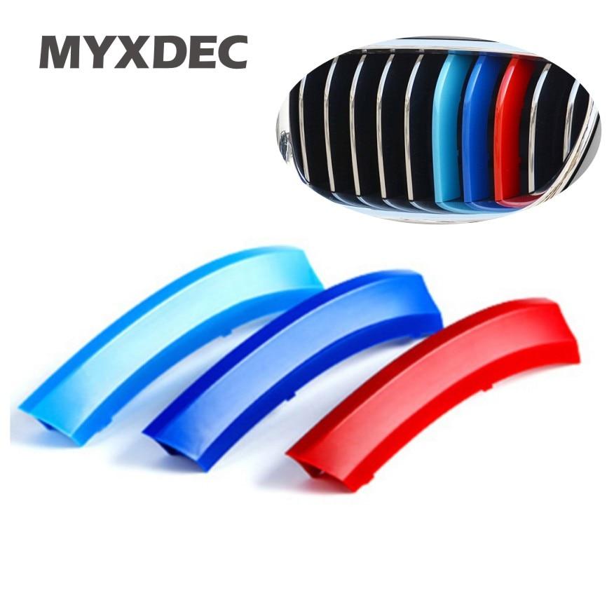 3 красный ABS 3D литье M Стиль передняя решетка отделки полосы Крышка Motorsport и наклейки для BMW 3 4 5 Х5 Х6 Ф10 Ф18 Ф30 Ф35