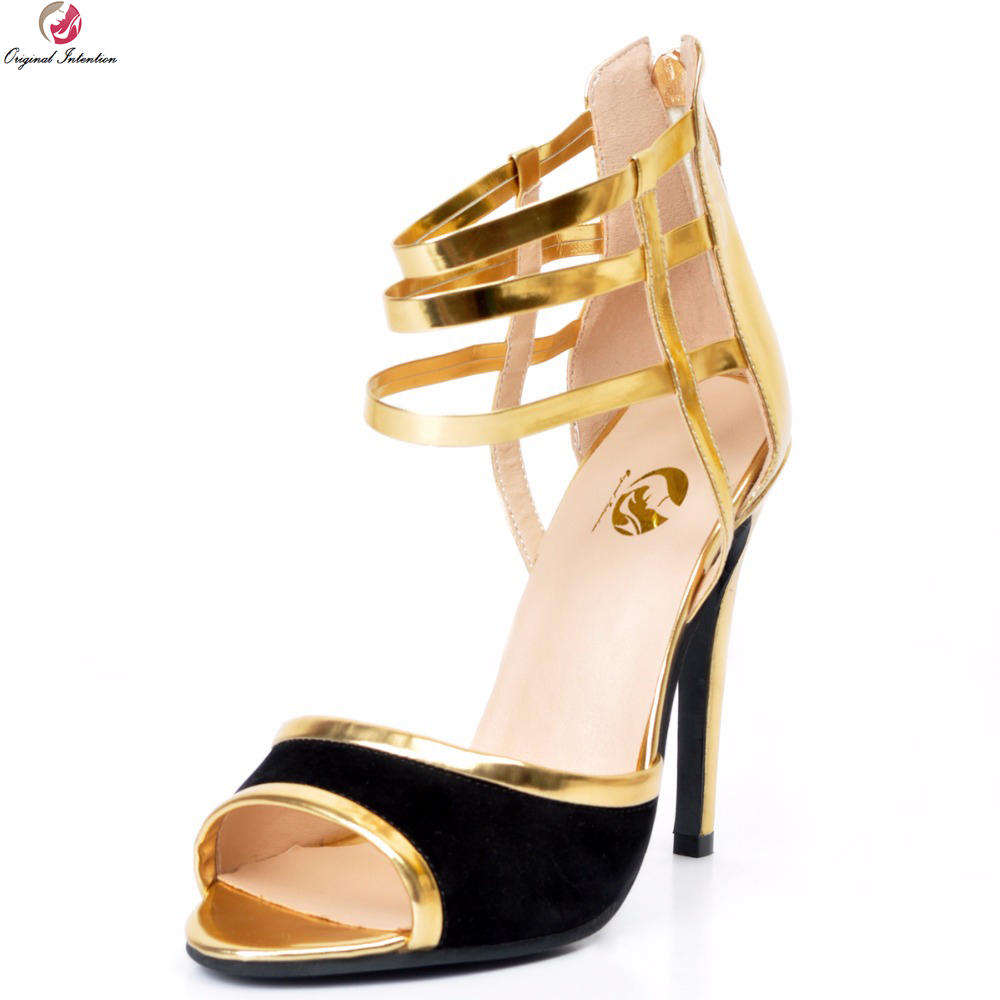 Original Intention Super Stylish Women Sandals Zipper Open Toe Thin High Heels Sandals Nice Gold Shoes Woman Plus US Size 4-15 [zob] new original omron omron proximity switch e2fm x1r5b2 2m
