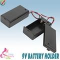 5 unids/lote 9 V Soporte de La Batería Caja de La Batería Caja con Tapa y Swtich Wired TBH-9V-BW