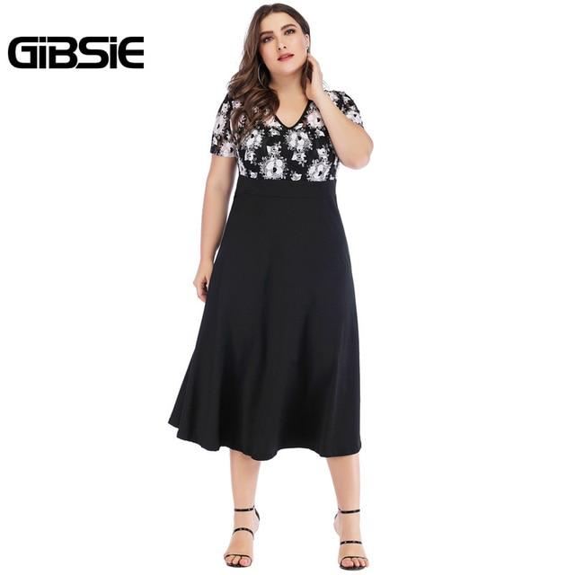 GIBSIE 5xl 4xl Vintage Floral Lace Casual Party Dress Summer Women Black Elegant Plus Size V Neck Short Sleeve A Line Long Dress 3