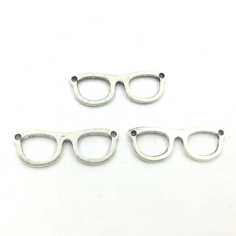 Connector Pendant Craft Cute Eye Glass Shape Metal Fashion Jewelry DIY Findings Charms Silver Tone 29x10mm 10Pcs