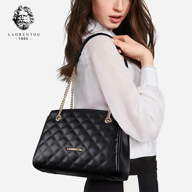 Laorentou Brand Women Diamond Lattice Split Leather Handbag Elegant Lady Fashion Chain Shoulder Bags Large Capacity Stylish BagsLaorentou Brand Women Diamond Lattice Split Leather Handbag Elegant Lady Fashion Chain Shoulder Bags Large Capacity Stylish Bags