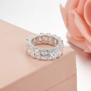 Image 4 - Sljely 925 prata esterlina brilhando quadrado completo zircônia cúbica cristal anéis de dedo feminino casamento luxo marca design jóias