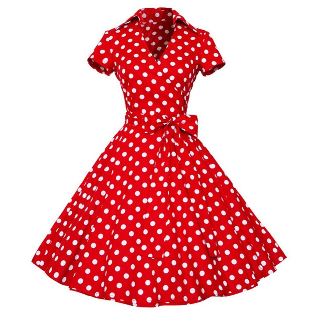 e1d4a65bb3854 Kenancy Woman Retro Dresses Audrey Hepburn 1950s 60s Rockabilly Polka Dot  Bow Pinup Ball Grown Party Robe Plus Size Vestidos