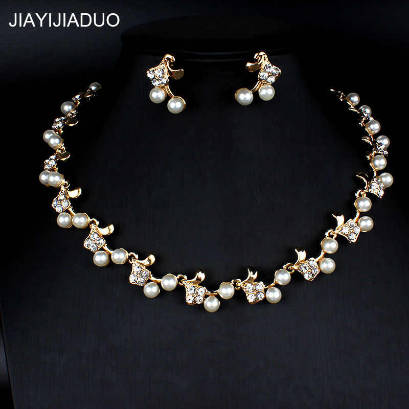 jiayijiaduo African women's jewelry set imitation pearl necklace earrings set wedding dress accessories 2PS dropshipping