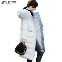 Winter Long Coat New Women Large Fur Collar Cotton Jacket Slim Thickened Warm Jacket Zipper Plus Size Outwear Casacos 6L92