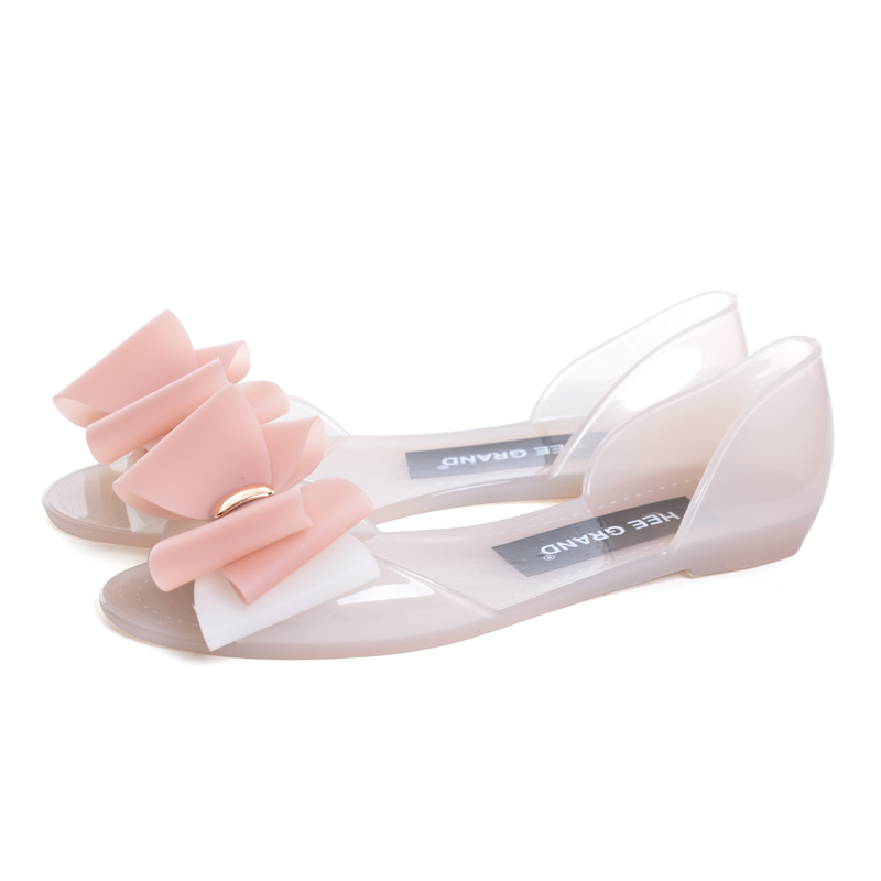 742753c487f7a HEE GRAND Jelly Sandals 2017 New Beach Jelly Shoes Woman Hot Summer  Butterfly knot Slip On Flats Casual Women Shoes XWZ4326-in Women s Sandals  from Shoes on ...