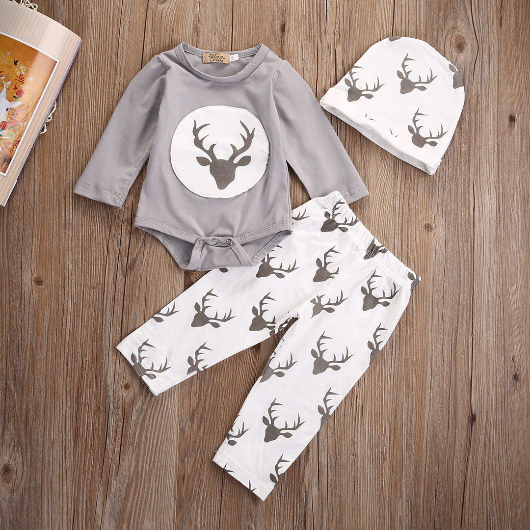 Newborn Baby Boys Girls Clothes Set Deer Romper Tops Trousers Pants Hat Outfits Sets Baby 3pcs Clothing 3pcs baby boy clothing set newborn baby girls clothes i ll eat you up i love you so rompers pants hat toddle outfits