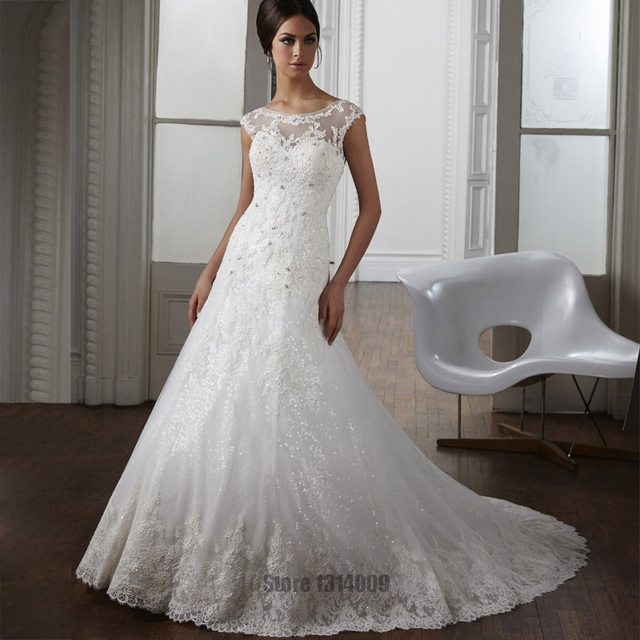 vestido de novia Shiny Lace Mermaid Wedding Dresses Sheer Top ...
