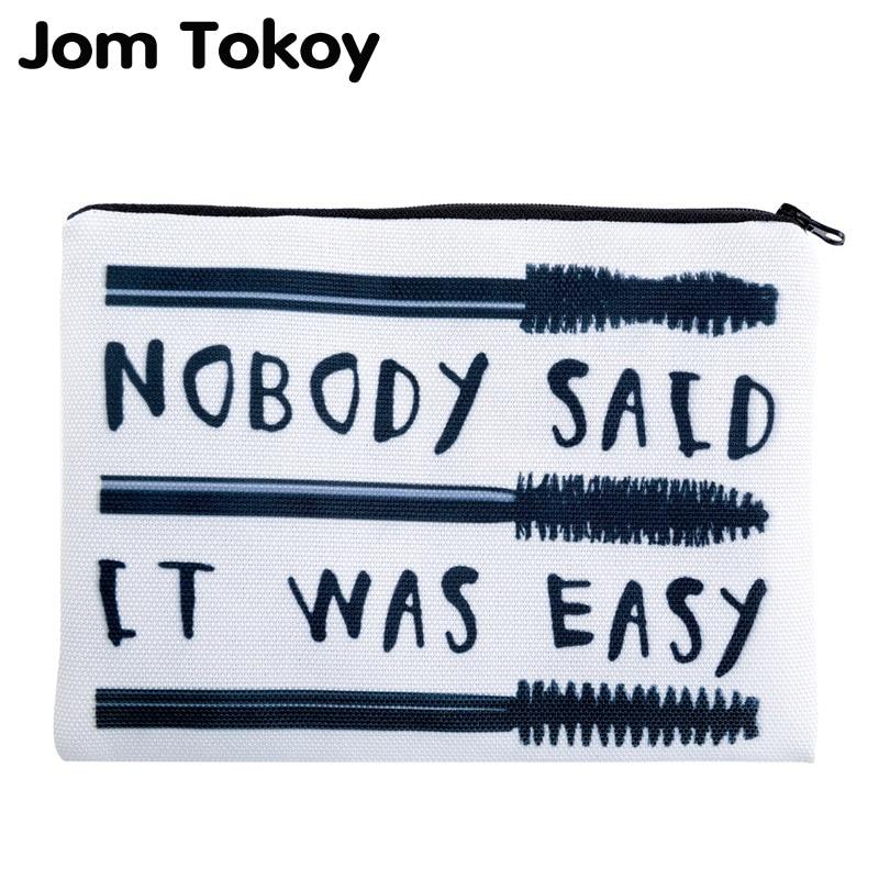 Jom Tokoy 3D Printing Eyelash Brush Travelling Organizer Makeup Bag Women Letter Cosmetic Bags With Zipper