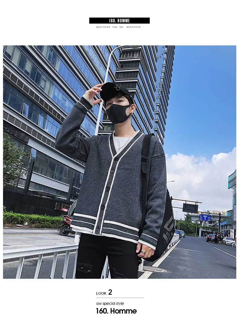Check Button Cardigan Male Oversize Loose Streetwear (2)
