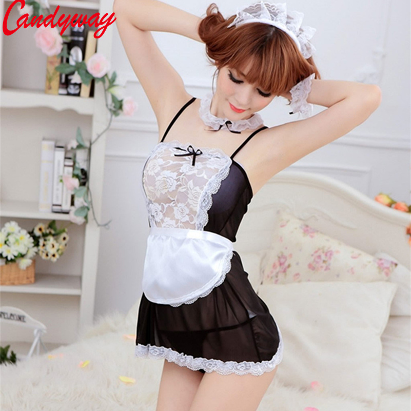 Donne Sexy Cosplay pizzo francese Maid uniforme Costume sexy Babydoll Erotic Lenceria Porn GB006