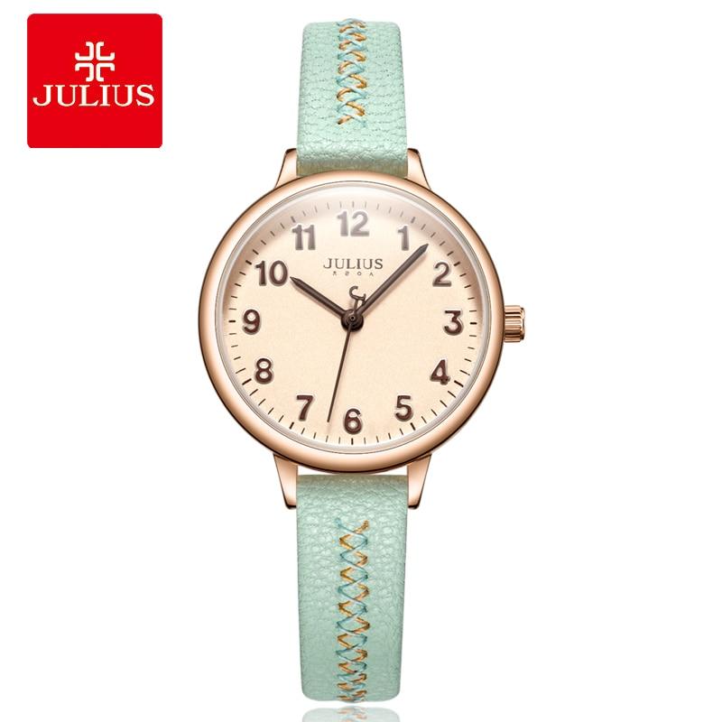 New Julius Women's Watch Japan Quartz Lady Cute Arabic Number Hours Fashion Dress Clock Leather School Girl's Birthday Gift Box