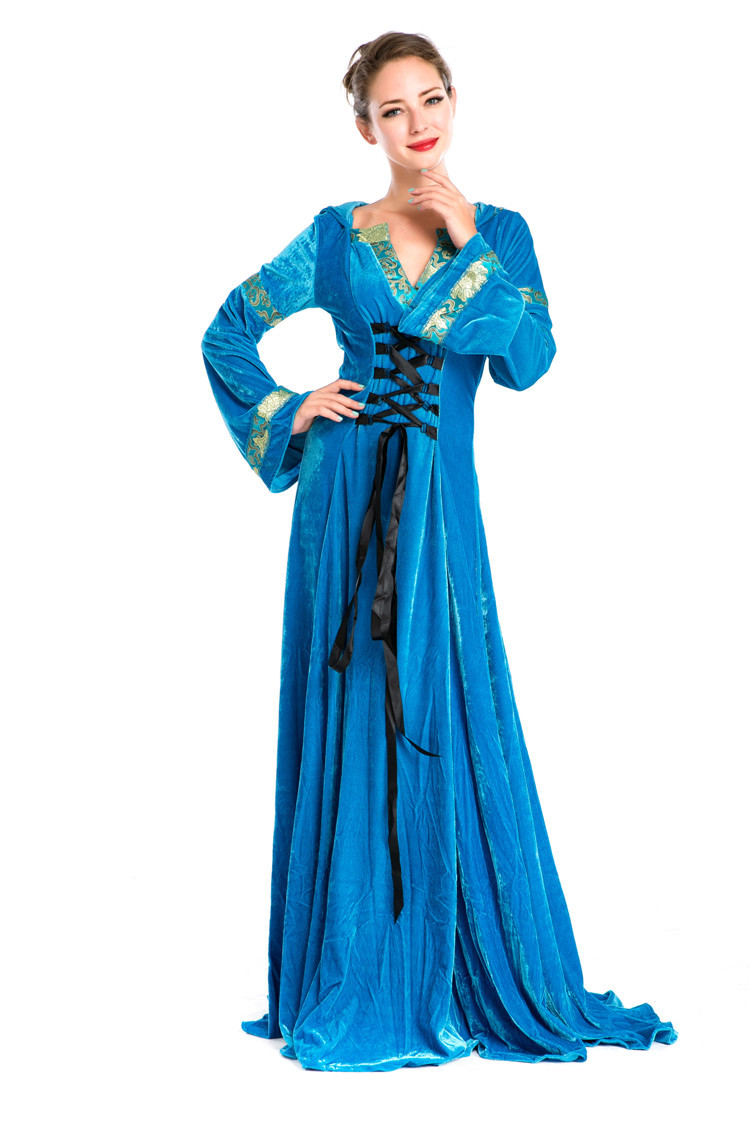Woman's Renaissance Medieval Gothic Long Dress For Halloween Ball Gowns Costumes Gypsy church Cosplay Dress