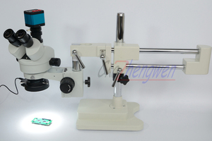 Image 2 - FYSCOPE Microscope Set 3.5X 90X Double Boom Stand Stereo Zoom Trinocular Standard Microscope+14MP HDMI Camera +144pcs Led Light
