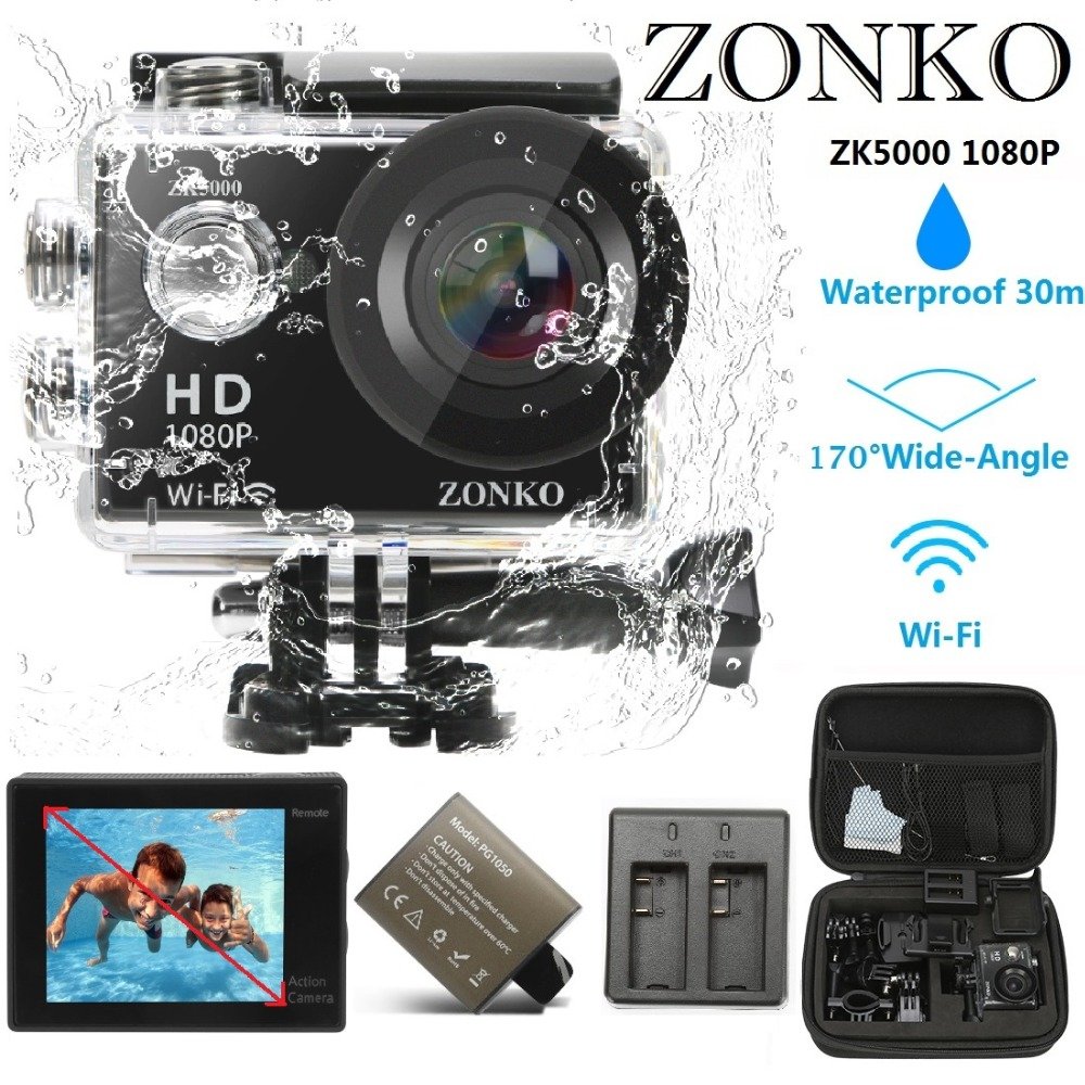 Action Camera ZONKO ZK5000 1080P HD WIFI Sports Camera, 12MP 170 Degree Wide-Angle Lens, 30M Waterproof Camera 2'' LCD Camcorder