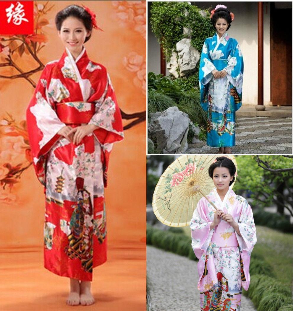 Japanese Dressing Gown: Red/pink/blue Japanese Geisha Clothing Vintage Kimono