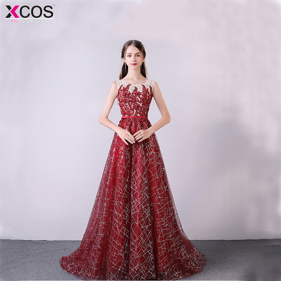 abendkleider  2018 A line Bling Champagne Red Evening Dress Long Party Elegant Vestido De Festa Off The Shoulder robe longue