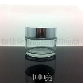 20pcs wholesale empty 100g clear glass cream jar with shiny silver aluminum lid, glass clear 100 g cosmetic jar for eye cream