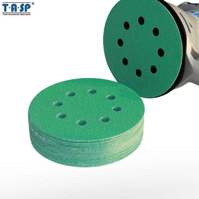 """TASP 25 шт. Professional противозасорный 125 мм наждачная бумага 5 """"плёнки шлифовальные дисковый крючок и петля абразивные инструменты с Grits 60 ~ 1500"""