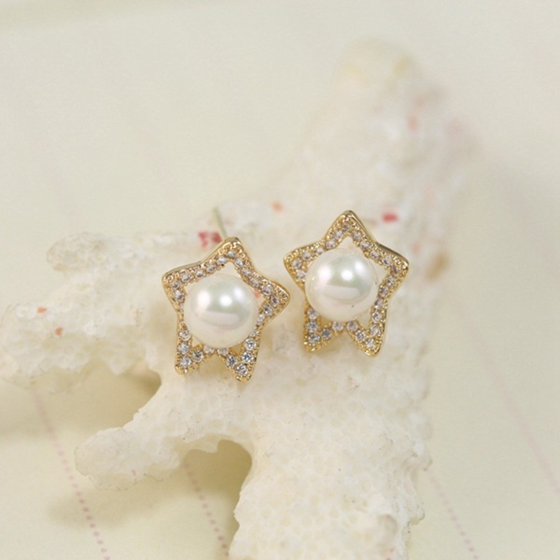 Jewelry Brincos Pearl Earrings Beads Star Full Rhinestone Crystal Earrings for Women Pendientes Stud Earrings 4ED262