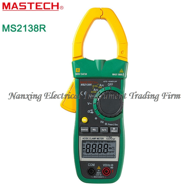 MASTECH MS2138R Digital Clamp Meter AC DC Clamp Meter Multimeter 4000 Counts Voltage Current Capacitance Resistance Tester mastech m266f digital ac clamp meter ac current resistance tester