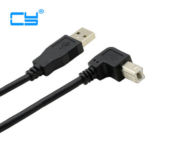 1PCS USB 2.0 A Male to B Male Down angled 90 degree Printer scanner HDD cable 1.5m/5FT 100pcies/lot