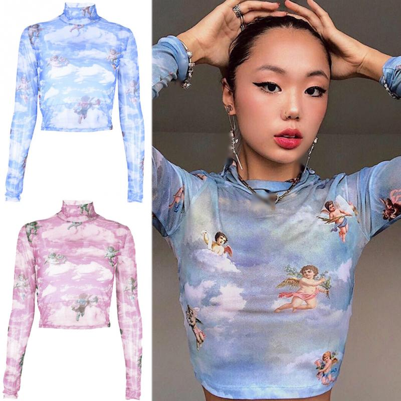 NEW Women Hyuna Style Shirt Sexy See Through Transparent Mesh Crop Top Long Sleeve Sheer Slim Ladies Summer Beach Short T-Shirt