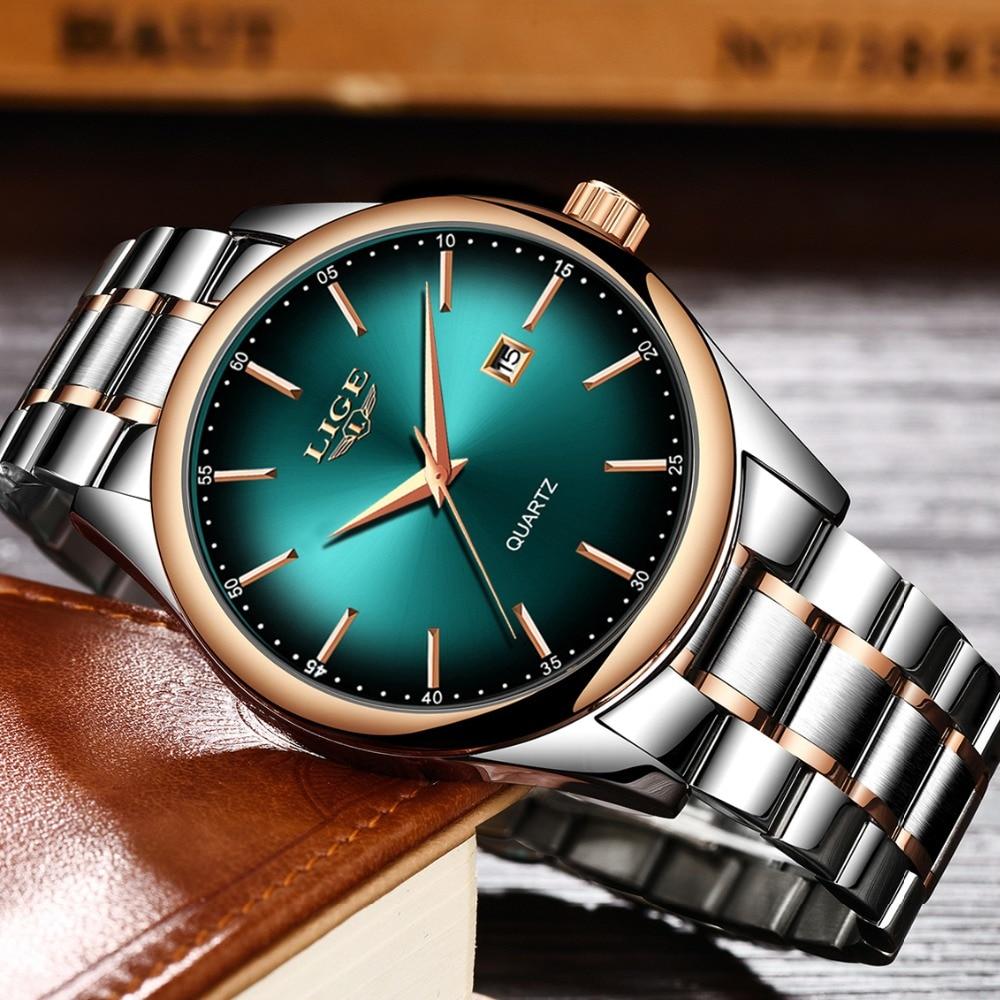 LIGE Top Brand Luxury Watches Men Stainless Steel Waterproof Watch Sport Quartz Mens WristWatch Busi