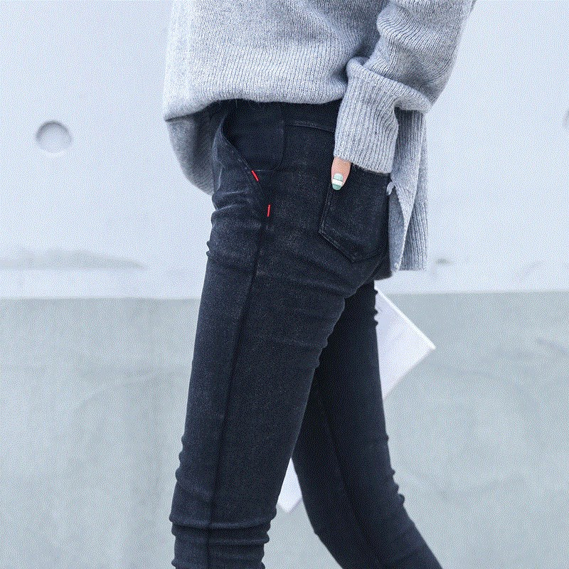 New 2018 Washed Women Imitation   Jeans   Mujer Stretch Cotton Denim Pants Trousers Boyfriend Big Size Skinny   Jeans   Pencil Pants