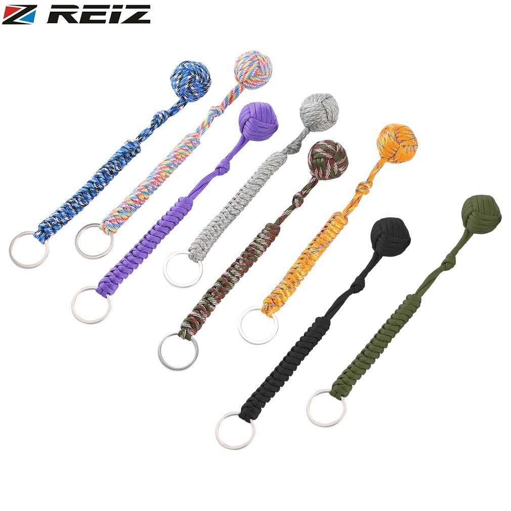 REIZ Monkey Fist Security Protect Girls travel Daily Wear Self Defense Multifunctional Key Chain Lanyard Survival Outdoor Tools ...