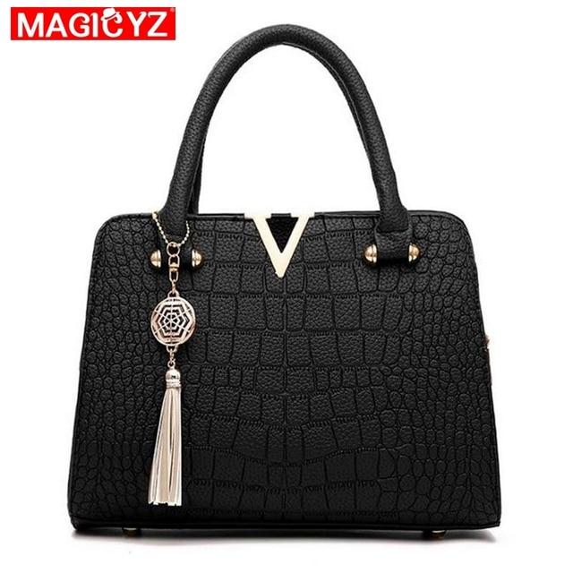 cd66e52b30bb Luxury Crocodile leather women handbags Famous brands designer women  messenger bags female fringed shoulder bag women s
