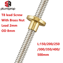 T8 Lead Screw Rod OD 8mm Pitch 2mm Length 150mm-500mm Threaded Rods with Brass Nut for Reprap 3D Printer Z Axis