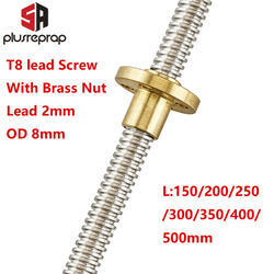 T8 Lead Screw OD 8mm Pitch 2mm Lead 2mm 150mm 200mm 250mm 300mm 350mm 400mm 500mm with Brass Nut for Reprap 3D Printer Z Axis