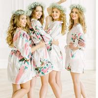 36fb95e906 Best Price Big Size XXXL Female Robe Kimono Bathrobe Bride Bridesmaid Sexy  Robes Flower Sleepwear Wedding Gift Sexy Cosmetic Bath Gown