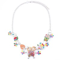 Newei Statement Necklace Owl Enamel Flower Alloy Long Chain Pendants 2016 New Jewelry For Women Charm