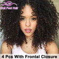 7A Virgin Malaysian Curly Hair With Frontal Closure Malaysian Kinky Curly Hair With Closure Lace Frontal Closure With Bundles 1B