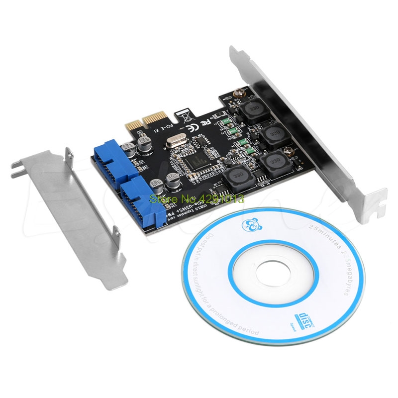 2 Port 19Pin USB 3.0 Card PCI-e to Internal 20Pin Ports Male PCI Express Adapter Drop Shipping Support
