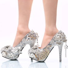 2017 Gorgeous Silver Rhinestone Wedding Shoes Rose Flower Crystal Wedding Banquet Party Shoes Cinderella Prom Pumps Plus Size