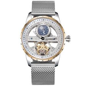 Image 3 - 쿨 투명한 뚜르 비옹 시계 남성 자동 태엽 기계식 시계 스틸 밀라노 손목 시계 방수 몬트 문 단계