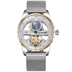 Image 3 - Cool Transparent Tourbillon Watches Men Self winding Mechanical Watch Steel Milanese Wrist watch Waterproof Montre Moon Phase